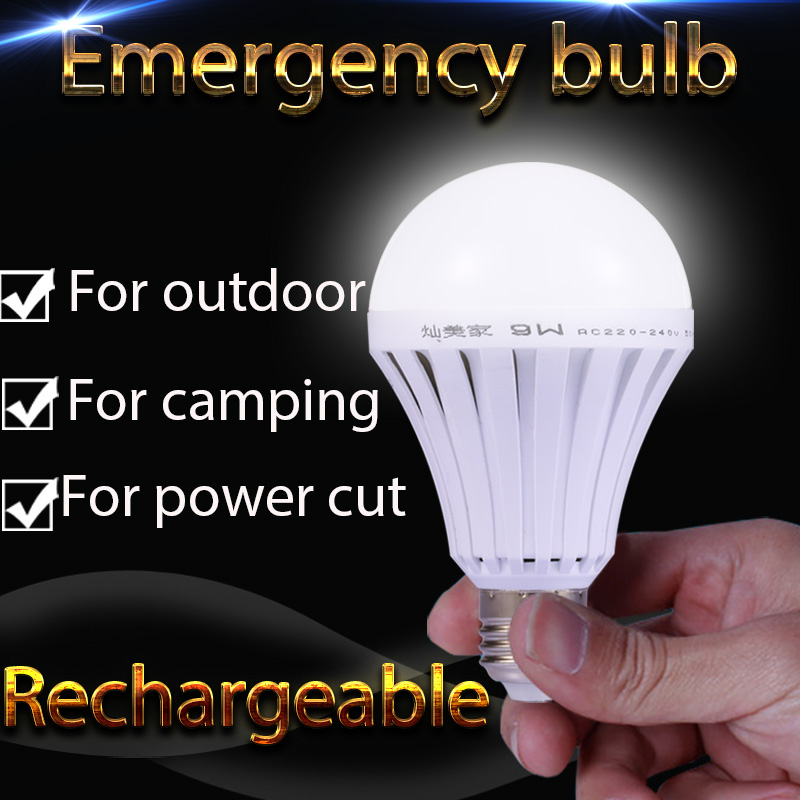 1pcs LED Smart Rechargeable E27 Emergency Light Bulb Lamp Home Commercial Outdoor lighting B22 5W 7W 9W 12W 220V(China (Mainland))