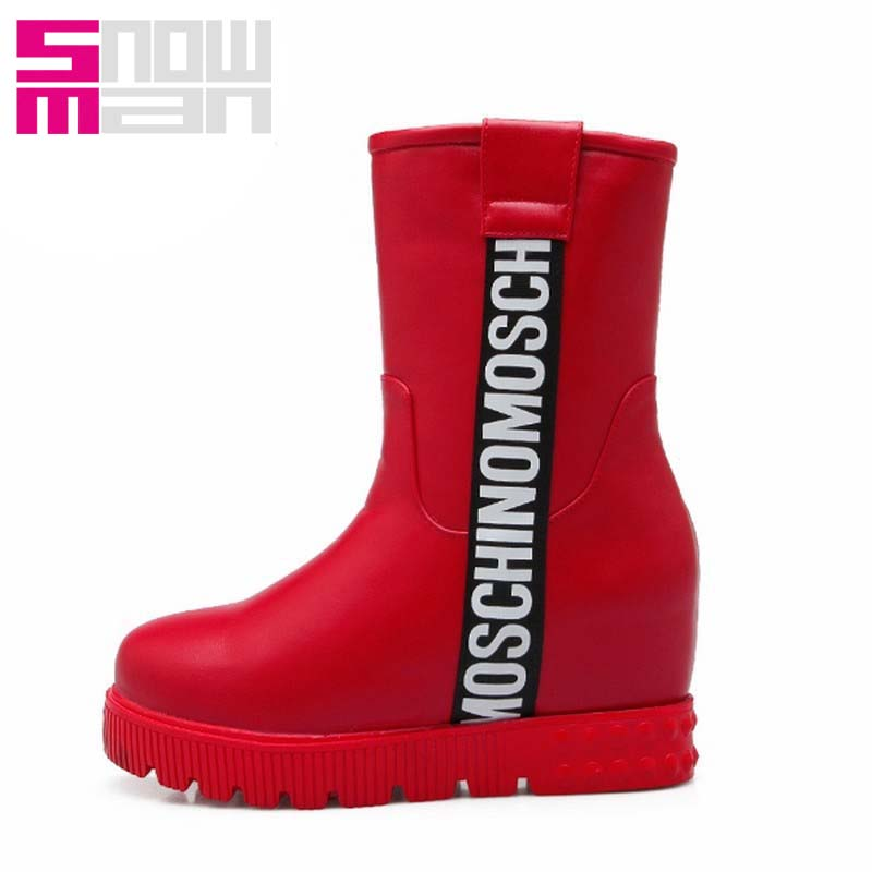 2015 Letters Snow Boots Hidden Wedges Thick Fur Short Boots Platform Snow Shoes Woman Winter Shoes Winter Boots Zapatos Mujer