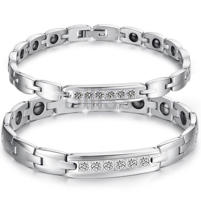 Fashion Stainless Steel Rhinestone Bracelet Energy Health Black Magnetic Stones Bangle bracelets for Women Ladies bracelet femme(China (Mainland))