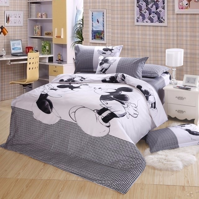 hot 100%Cotton 4pc bed linen mickey and minnie mouse bedding sets with duvet cover set flat sheet/twin/Full queen King size(China (Mainland))