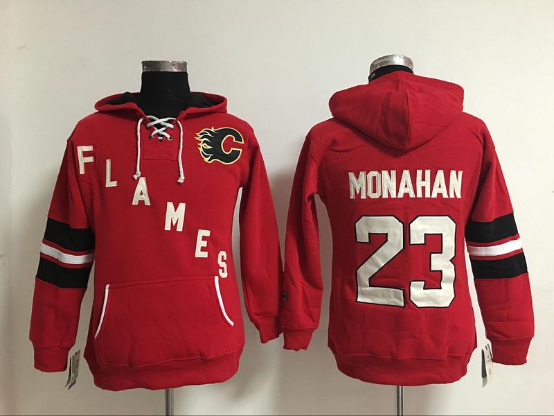 Womens Ice Hockey Hoodies Calgary Flames 23 Sean Monahan Red Ladies Warm Hooded Sweatshirt 100% Embroidery Name 5123<br><br>Aliexpress