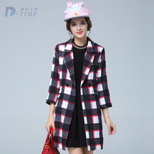 ON SALE 2015 plus size women plaid long coat three quarters sleeves A-line trench coat 5XL big size autumn winter outerwear