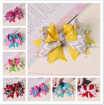 New Multicolor boutique big women girls satin of grosgrain ribbon hair bows with clips hairpins hairbows accesories packaging 6(China (Mainland))