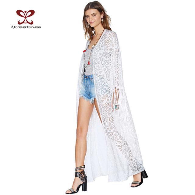 Summer Женщины Верхs Beach Длинный Maxi Kimono Кардиган Белый Tassel Кружево рубашка ...