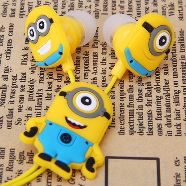 Cartoon Anime Earphone Minion despicable Me 3.5mm birds in ear Headphones For i Phone Mobile Phone MP3 player Computer kids gift(China (Mainland))