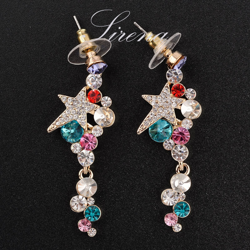 EC115 Luxury Bohemian Gold Plated Dangle Drop Chandelier Austrian CZ Crystal Earrings Prom Jewelry Women - SIRENA store