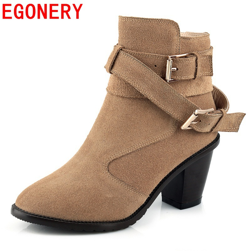 2015 woman shoes Buckle winter style boots elegant Nubuck leather medium heels short plush sexy warm ankle boots for part lady<br><br>Aliexpress