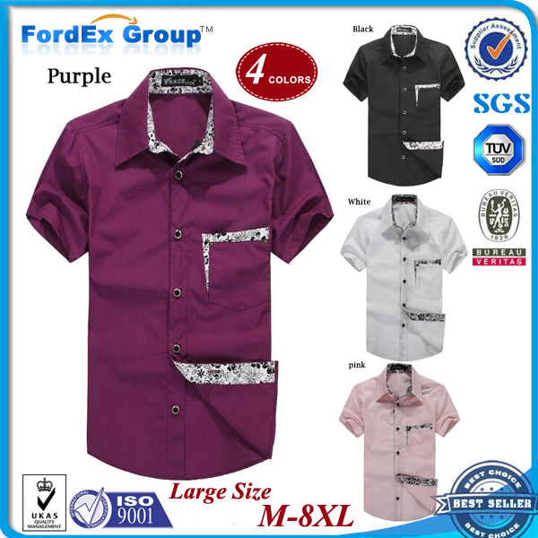 Super large size men's clothing plus short-sleeve fat summer casual cotton shirt nutty oversized collar shirts man 8XL - Fordex Industrial Group Limited store