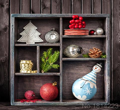 3x5FT Dark Wooden Wall Wood Cabinet Pine Cone Clock Roly Poly Cherry Photography Backdrops Studio Backgrounds 1x1.5m(China (Mainland))