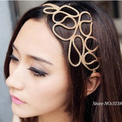 Fashion Bohemian Gold Plated Alloy Unique Head Chain Simple Flower Metal Hairwear Jewelry Accessories Women Headbands - Fame (China store Fashion)