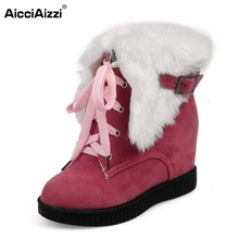 Buy Women Round Toe Flat Ankle Boots Woman Lace Botas Mujer Female Buckle Winter Warm Fur Snow Boot Woman Shoes Size 34-39 for $23.60 in AliExpress store