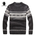 New Winter Mens Jacquard Sweaters Fashion Cowl Neck Wool Pullover Sweater For Men Thick Men Sweater