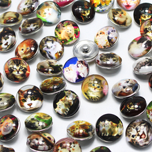 10pcs lot Mixed glass dome cabochon 18mm Snap Buttons Fit ginger snaps jewelry DIY snaps buttons