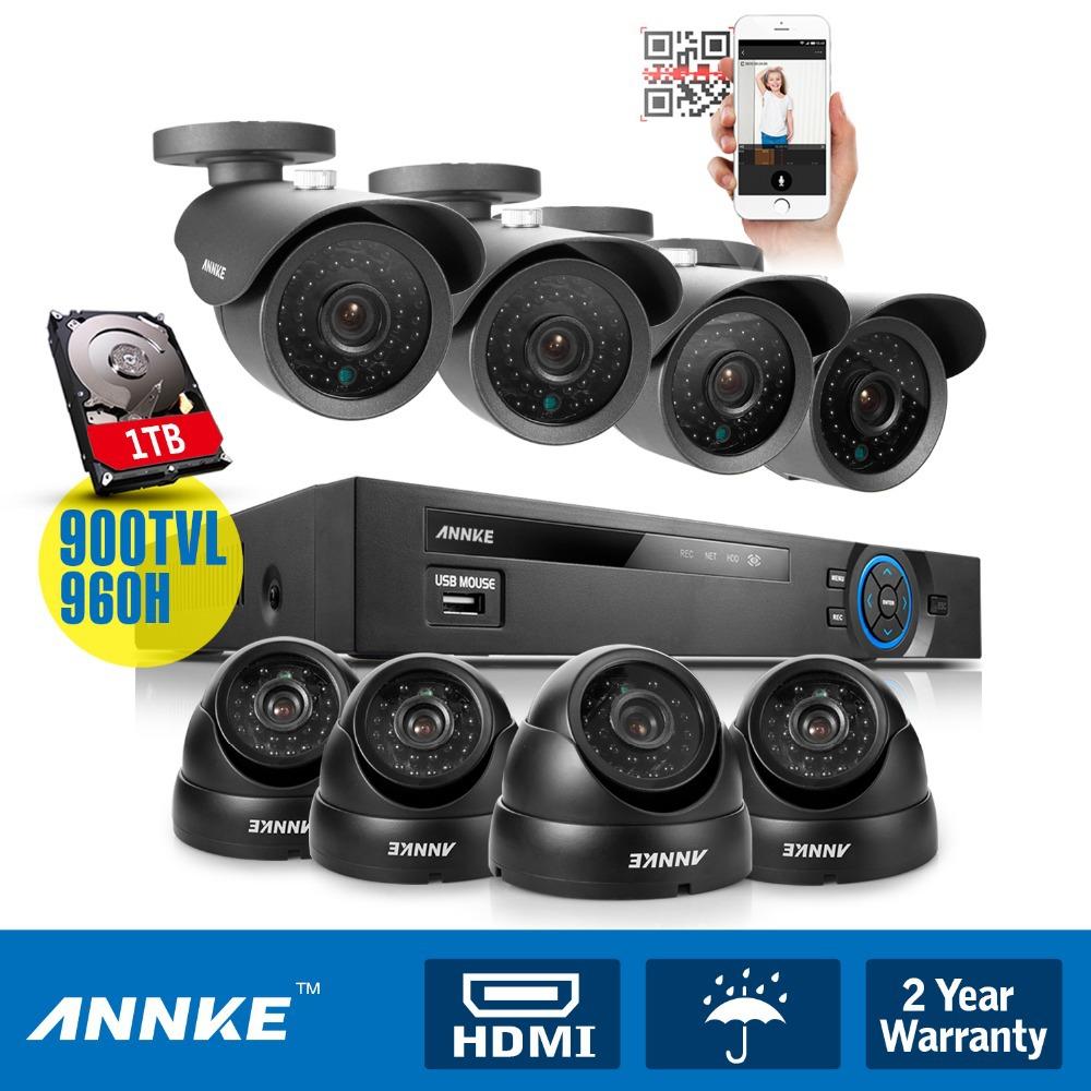 ANNKE 8CH HDMI 960H DVR +8pcs Outdoor 900TVL CCTV Surveillance Security Camera System +1TB HD(China (Mainland))