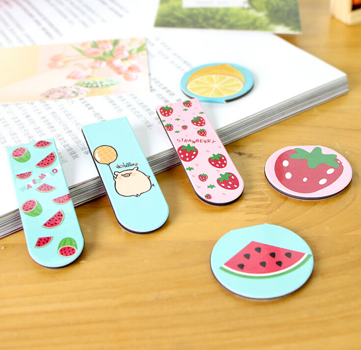 2 pcs/pack Fresh Fruit Magnet Bookmark Paper Clip School Office Supply Escolar Papelaria Gift Stationery(China (Mainland))