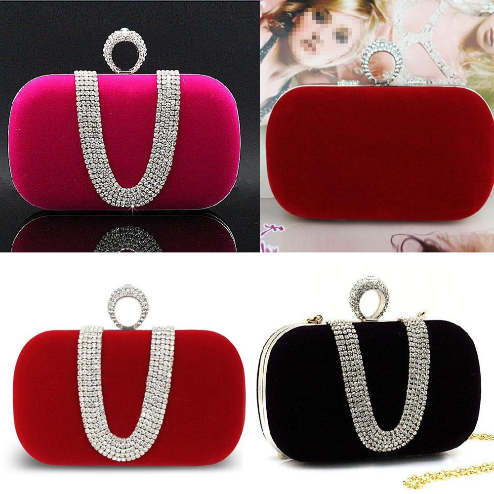 Evening Bag Rhinestone Clutch Ring Bridal Party Handbag Shoulder Chain Free Shipping #gib(China (Mainland))