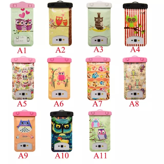 New Fashion Universal phone models 3 inches - 6 inches Owl Waterproof case Cartoon Owl Bag Underwater back cover Cartoon Case(China (Mainland))