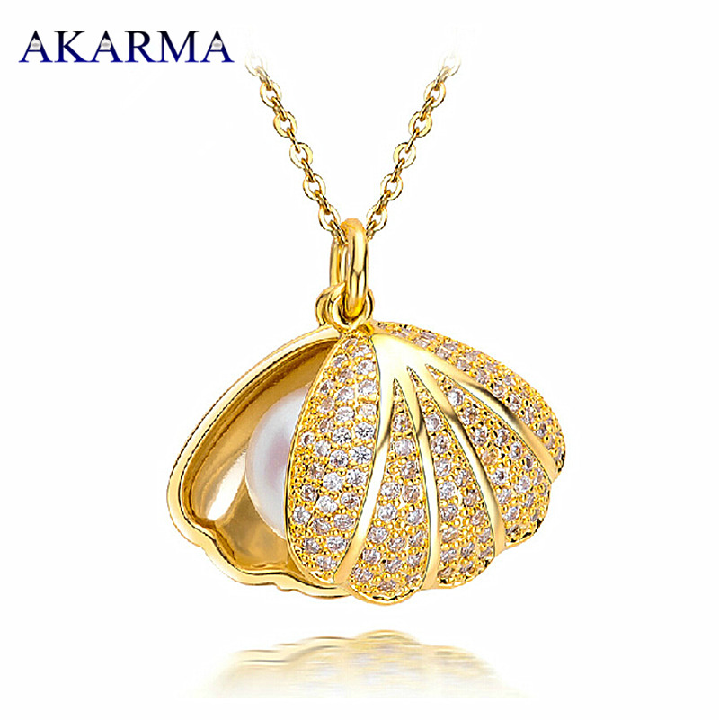 Akarma Necklace Fashion Gold Plated Tassel Necklaces Pendants Women Real Natural Freshwater Pearl Necklaces Jewelry new 2016(China (Mainland))