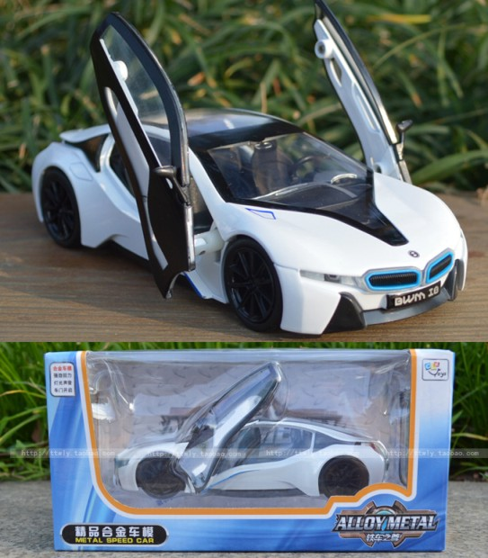 Original Box 1:32 High Simulation I8 Concept Scissors Door Pull back Alloy Model Diecast Car For Children toy cars Best gift(China (Mainland))