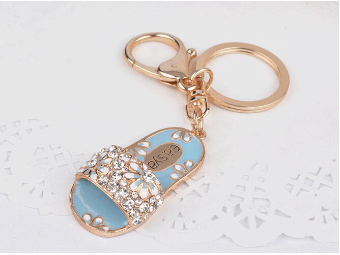 Shoe Keychain Novelty Creative Rhinestone Slippers Keyring charm bag Key Chain Ring Key Fob For Women(China (Mainland))