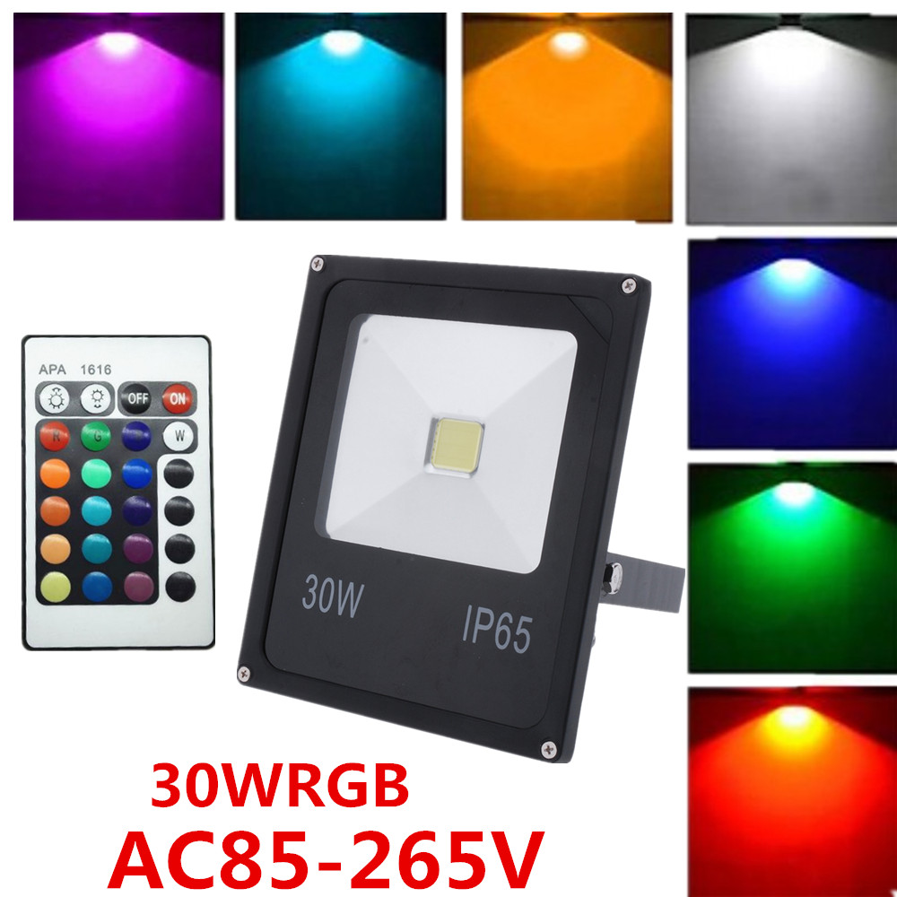 Factory wholesale IP65 10W,20w,30w 50 w RGB outdoor led lamp wall lamp flood light park light+ IR Remote Control<br><br>Aliexpress