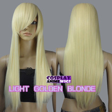 70cm Light Golden Blonde Heat Styleable Long Cosplay Wigs 76_613 Ladies Re sistant Synthetic hair - meiyan gan's store