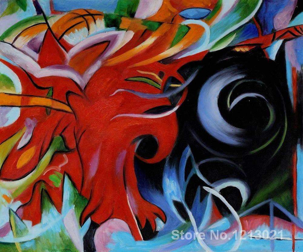 Art for sale,Fighting Forms Art by Franz Marc paintings,High quality,Hand-painted(China (Mainland))