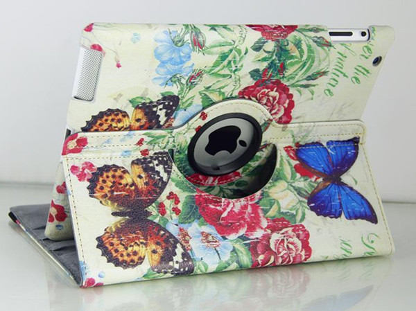 Vintage butterfly flower pattern painted leather 360 degree rotating bracket cases for Apple ipad 2 3 4 Tablet case(China (Mainland))