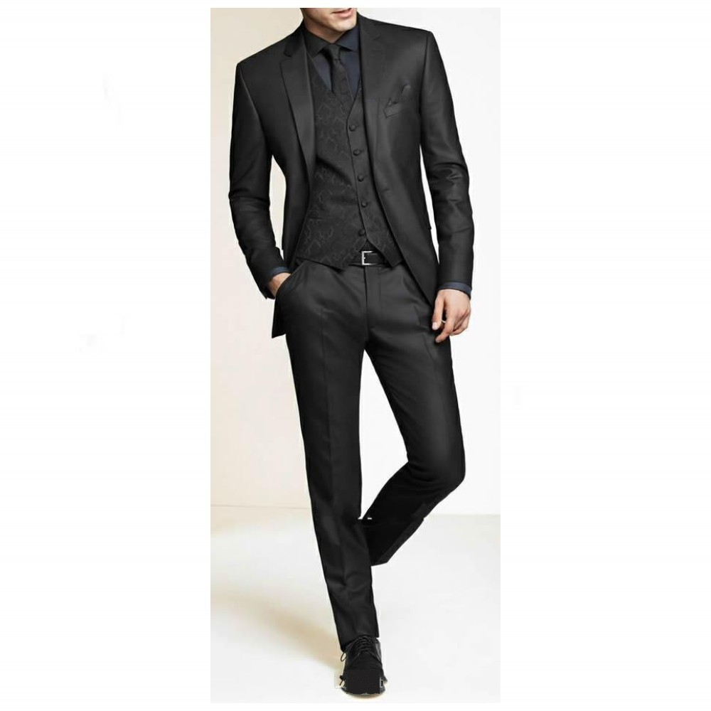 Handsome Black Man Suit  Notched Lapel Wedding Suits For Man Groomsman Tuxedos