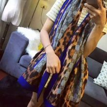 Self-restraint autumn and winter thickening Wool flannelette printed color block decoration scarf cape180 cm * 70 cm.