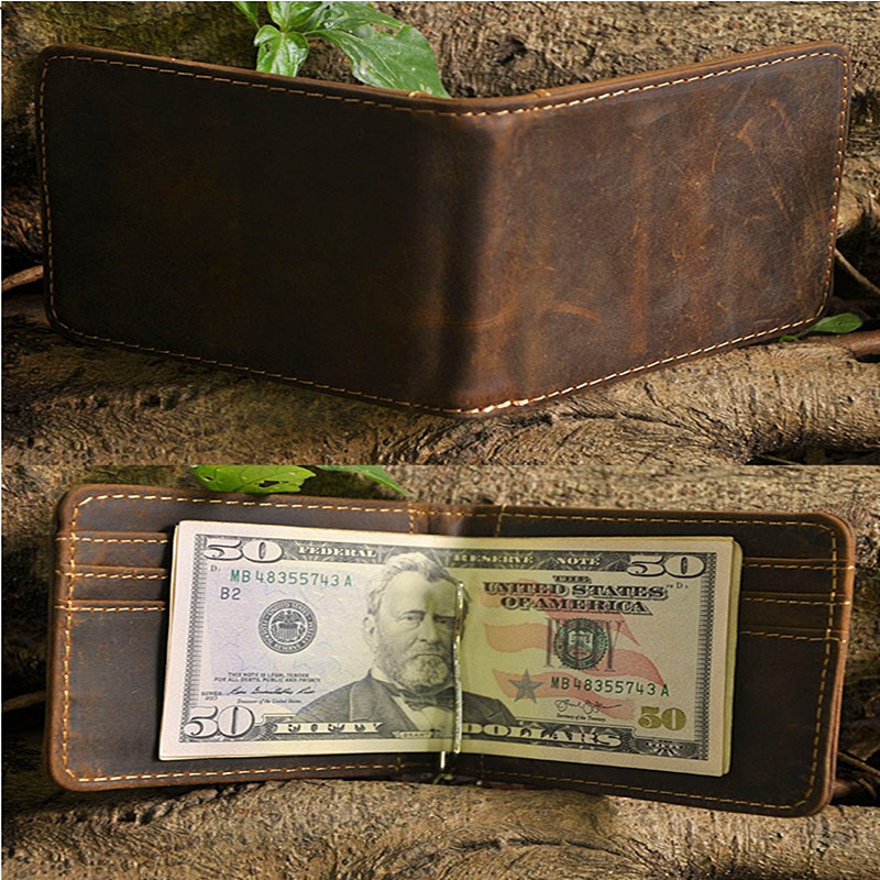 Brand High Quality Vintage Retro Genuine Crazy Horse Leather Cowhide Men Male Short Bifold Wallet Wallets Chic Money Clip NEW(China (Mainland))