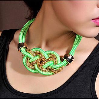 new 2015 women stream punk ethnic handmade fluorescence leather chunky rope and gold monogram green yellow bib chunky necklace(China (Mainland))