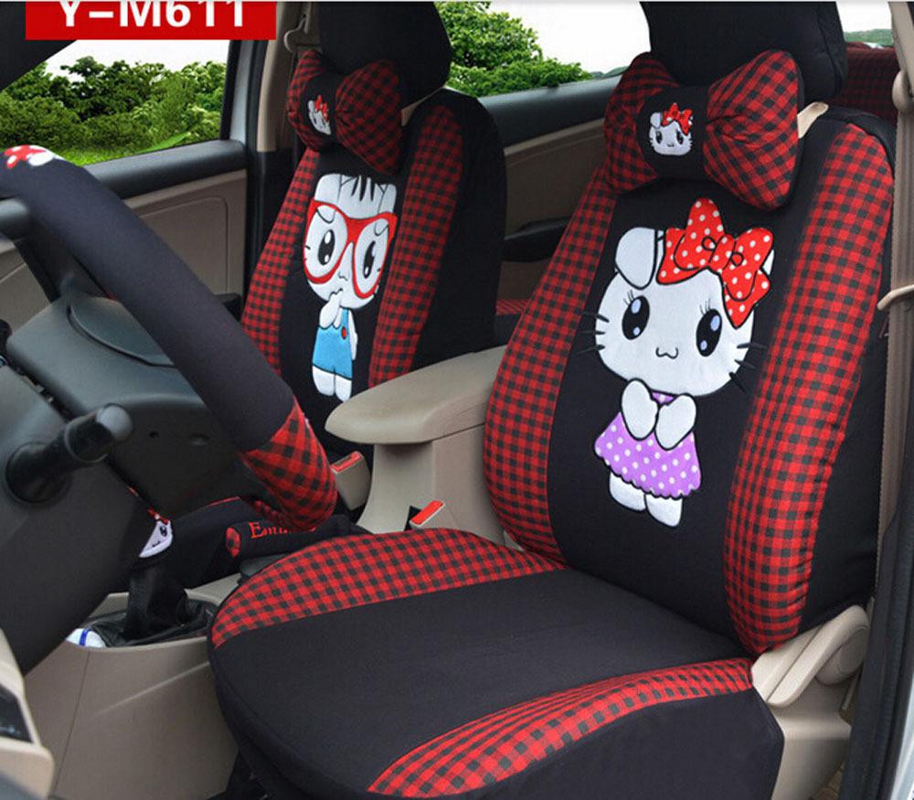 18pcs New woomen lovely flax cute cartoon four seasons car-covers cushion car sear cover Head pillow car accessories(China (Mainland))