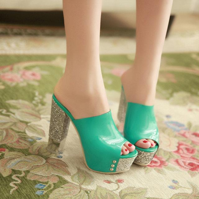 New women fashion sexy OL style glittering ultra high heels pump summer party sandals<br><br>Aliexpress