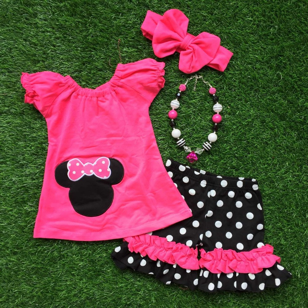 in stock girls minnie Capri set girls dark pink Capri sets girls boutique clothing with matching necklace and headband(China (Mainland))