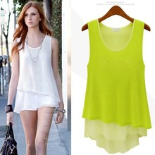 Fashion New Women Sleeveless Blouses Loose Chiffon Blouse Tops Tees Casual Women Autumn-Summer  All-match blouses Chiffon Shirts(China (Mainland))