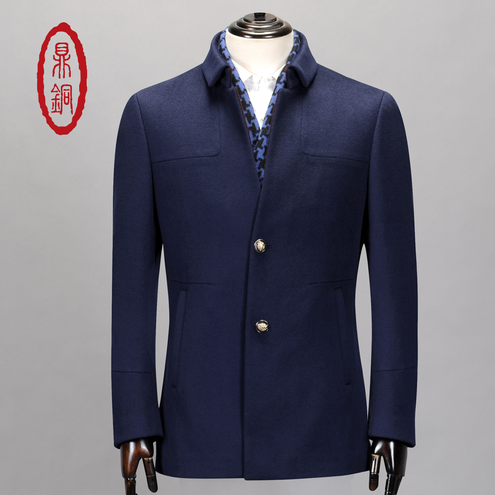 DINGTONG Winter 100% Wool Jacket Men Top Warm Lined Regular Long Slim Fit Qualify Trench Single Breasted Stylish Blue Overcoat(China (Mainland))