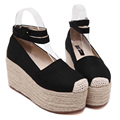 Women Espadrilles Canvas Casual Summer Vacation Rope Sole Thick Platform Flat Mary Janes Shoe Ankle Strap