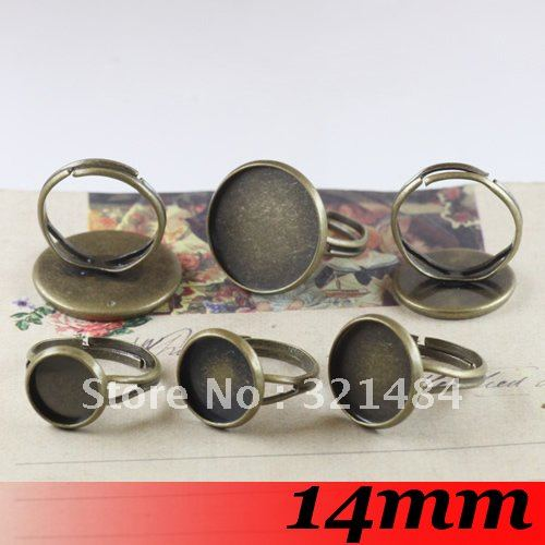 Antique bronze 300piece 14mm Round Cameo Cabochon Setting Ring Base Ring Blanks<br><br>Aliexpress