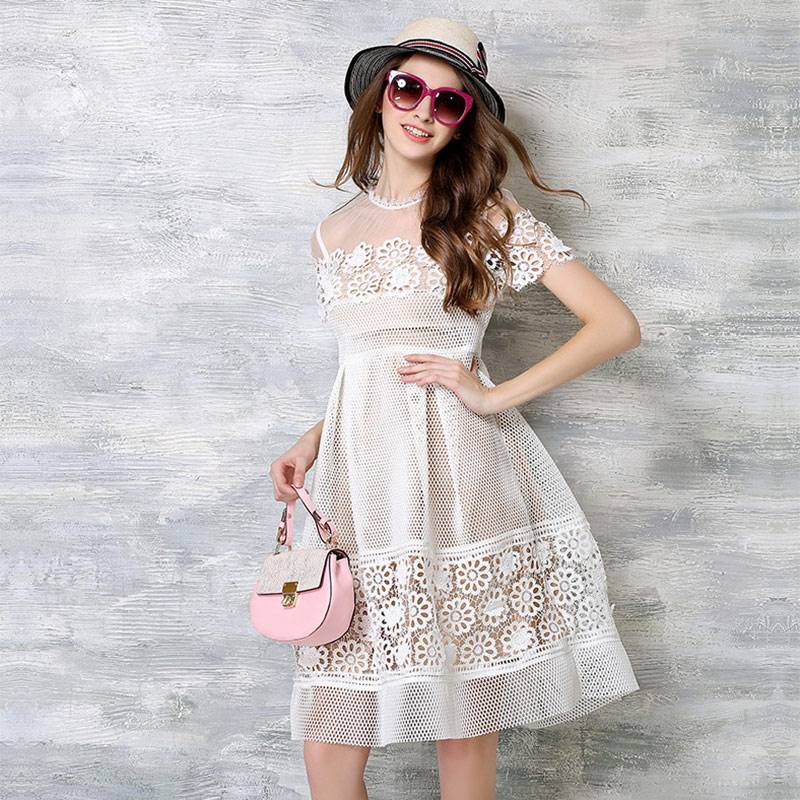 Europe and America Small O Neck Short Sleeve Crochet Lace Patchwork Big Bottom Knee Length Fancy Dress(China (Mainland))