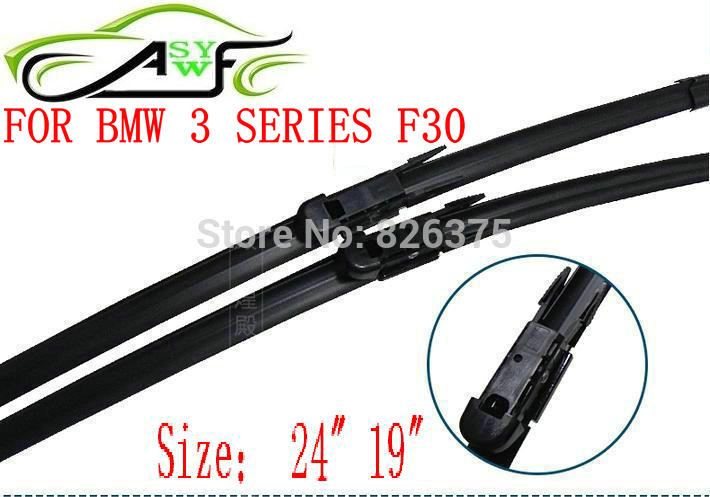 "Free shipping car wiper blade FOR BMW 3 SERIES F30 Size 24"" 19"" Soft Rubber WindShield Wiper Blade 2pcs/PAIR deflector window(China (Mainland))"