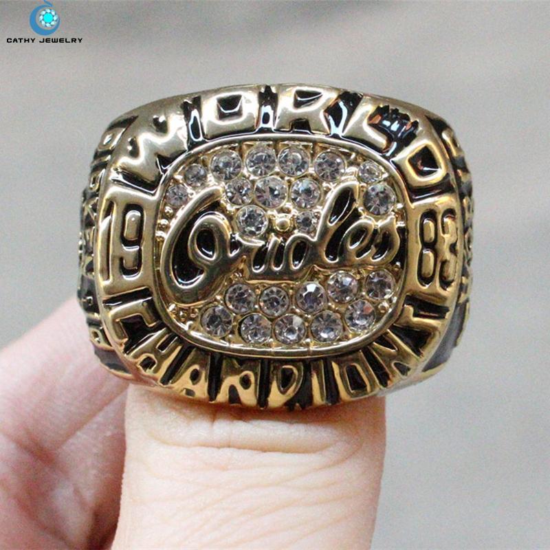 1983 Baltimore Orioles World Series championship ring Black Red Enamal Crystal Gold Pleated Ring Men(China (Mainland))