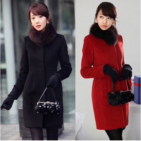 2014 New Arrival Fashion Women Slim Faux Fox Fur Collar Elegant Warm Coat Long Sleeve Black/Red Woolen Cashmere Outwear A136Одежда и ак�е��уары<br><br><br>Aliexpress