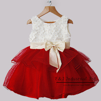 Newest New Fashion Girl Party Dress White And Red Flower Fashion Kid Dresses With Bow Children 2015 New Year Hot Sale Ready