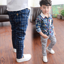 2015 new arrival spring trousers children clothing  pants 100% cotton baby boy plaid pants kids fashion style long pant suit(China (Mainland))