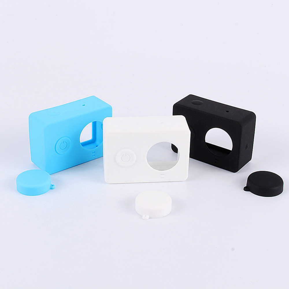 New Hot For Xiaomi Yi Camera Case Colorful Silicone Rubber Skin Housing With Protective Lens Cover Cap For Xiaomi Yi Accessories(China (Mainland))