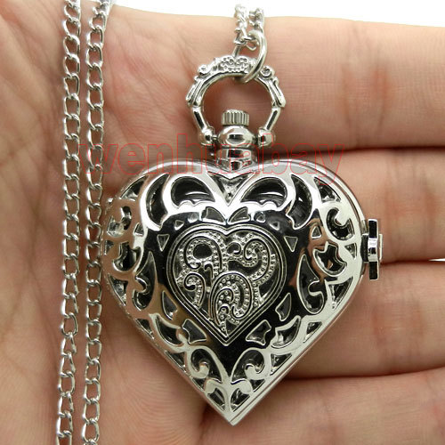 Fashion Charm Heart Shape Necklace Pendant Chain Quartz Pocket Watch
