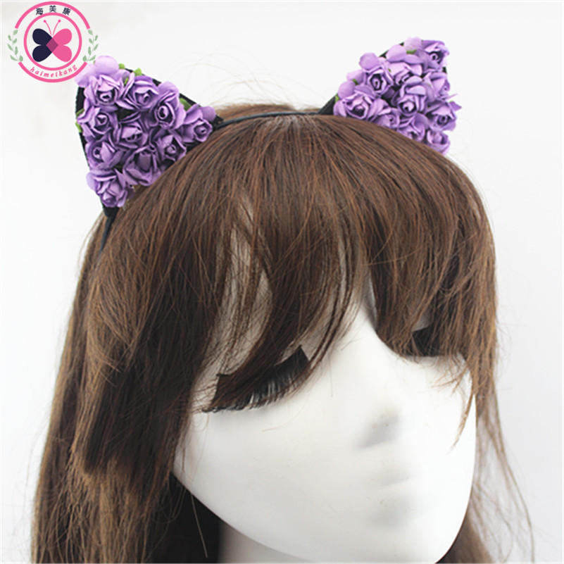 1 pcs Cat Ears Ears Rabbit Hair Hoop Small Devil Cat Headband Paper Flower Hair Bands Headdress Girls Kids Hair Accessories(China (Mainland))