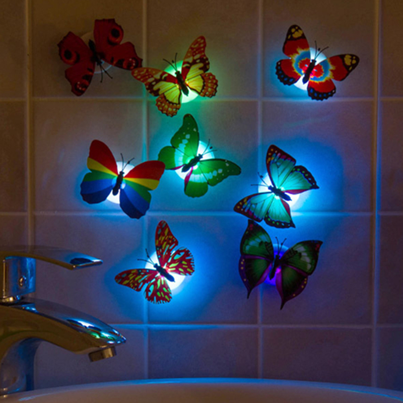 Wholesale Colorful Luminous Butterfly LED Night Light Home Wedding Decorative Lights Lamp With Stickers Children Small Gifts(China (Mainland))