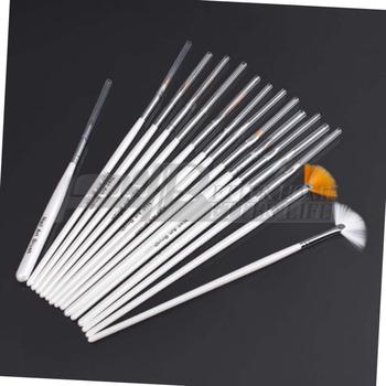 1set15Pcs Low price Cosmetic Nail Art Polish Painting Draw Pen Brush Tips Tools Set UV Gel